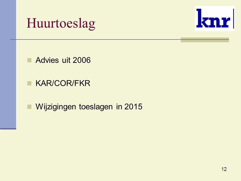 Huurtoeslag Advies uit 2006 KAR/COR/FKR Wijzigingen toeslagen in 2015
