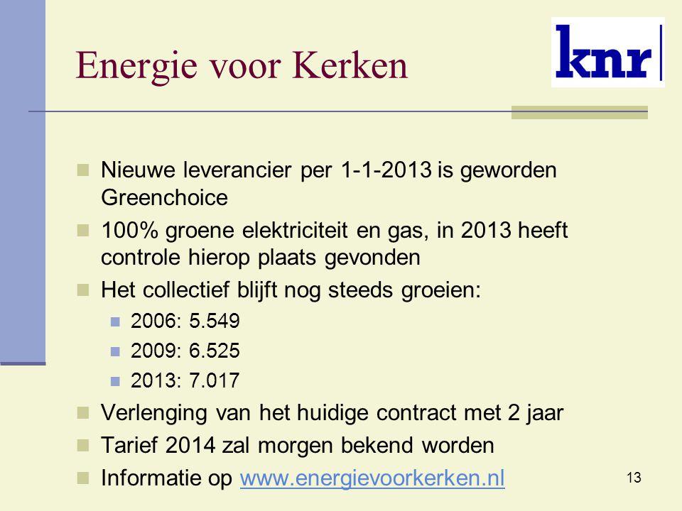 Energie voor Kerken Nieuwe leverancier per 1-1-2013 is geworden Greenchoice.