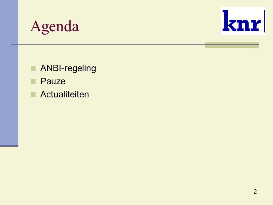 Agenda ANBI-regeling Pauze Actualiteiten