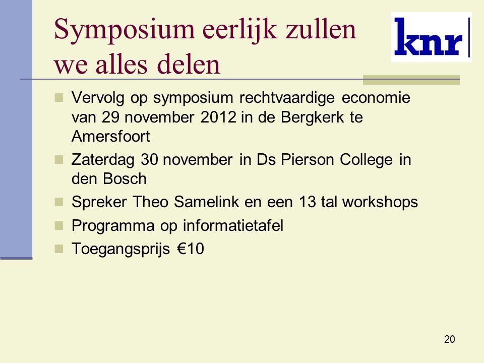 Symposium eerlijk zullen we alles delen