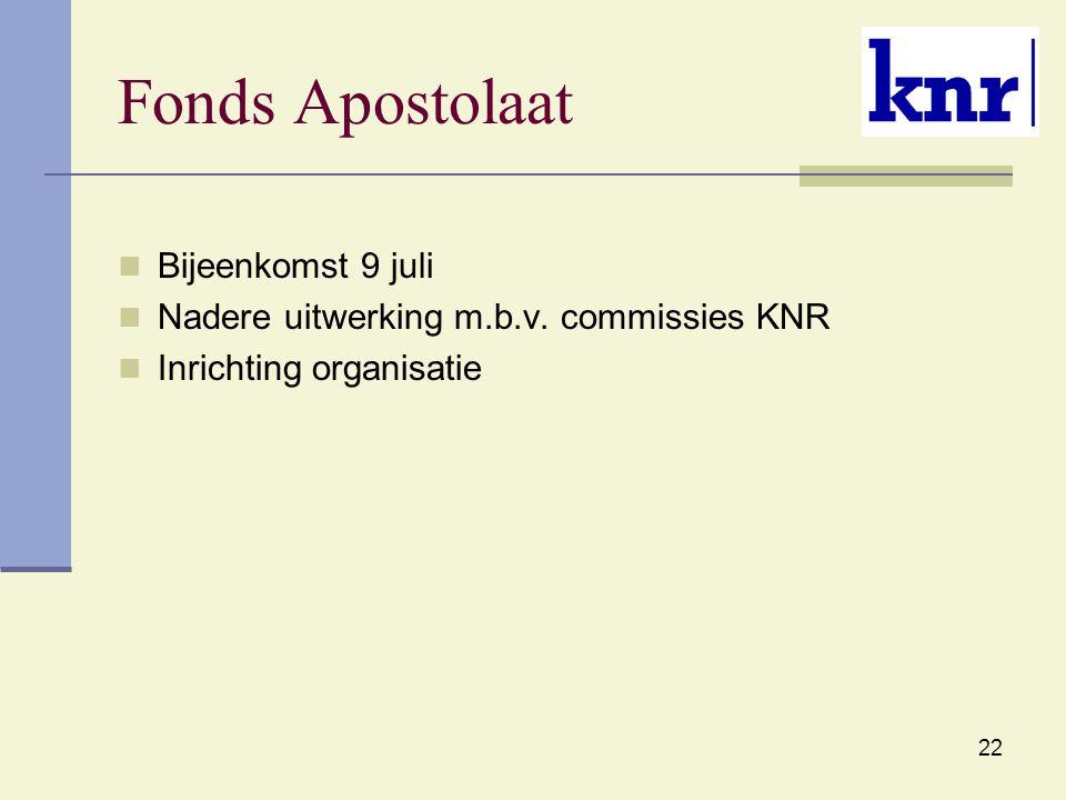 Fonds Apostolaat Bijeenkomst 9 juli