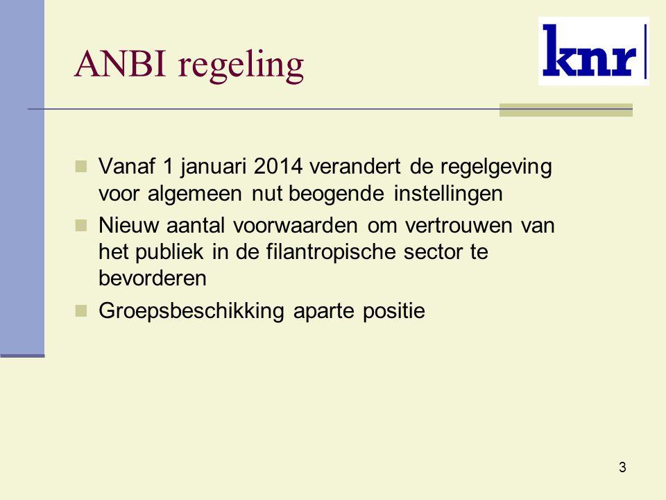 ANBI regeling Vanaf 1 januari 2014 verandert de regelgeving voor algemeen nut beogende instellingen.