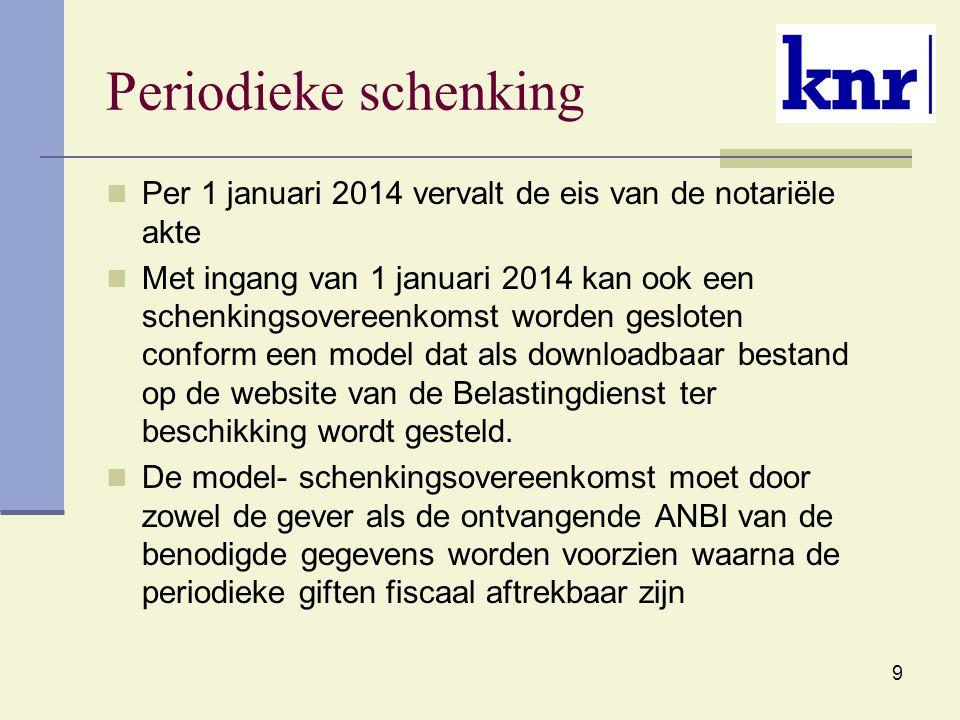 Periodieke schenking Per 1 januari 2014 vervalt de eis van de notariële akte.