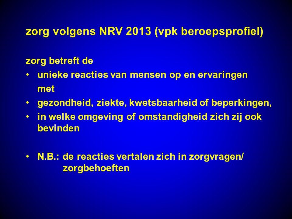 zorg volgens NRV 2013 (vpk beroepsprofiel)