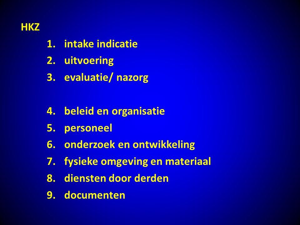 HKZ intake indicatie. uitvoering. evaluatie/ nazorg. beleid en organisatie. personeel. onderzoek en ontwikkeling.