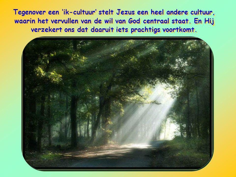 Tegenover een 'ik-cultuur' stelt Jezus een heel andere cultuur, waarin het vervullen van de wil van God centraal staat.