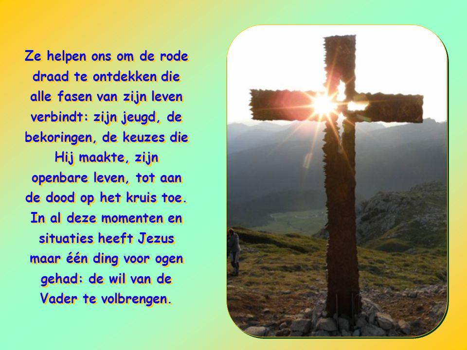 Ze helpen ons om de rode draad te ontdekken die alle fasen van zijn leven verbindt: zijn jeugd, de bekoringen, de keuzes die Hij maakte, zijn openbare leven, tot aan de dood op het kruis toe.