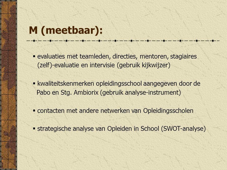 M (meetbaar): evaluaties met teamleden, directies, mentoren, stagiaires. (zelf)-evaluatie en intervisie (gebruik kijkwijzer)
