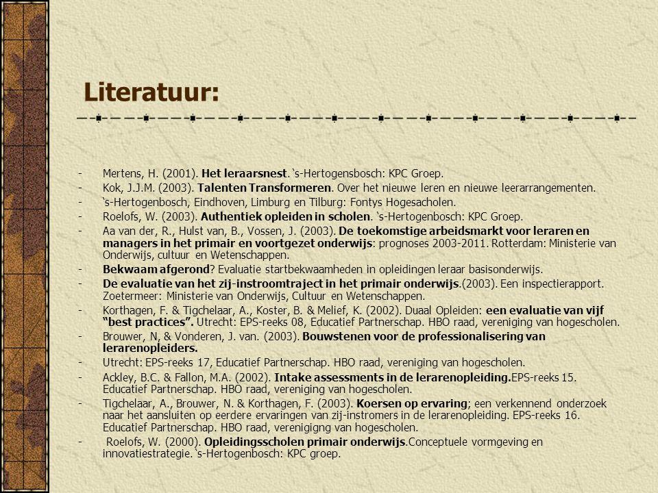 Literatuur: Mertens, H. (2001). Het leraarsnest. 's-Hertogensbosch: KPC Groep.
