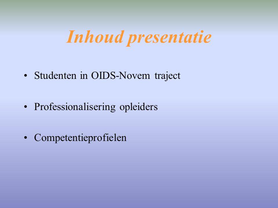 Inhoud presentatie Studenten in OIDS-Novem traject