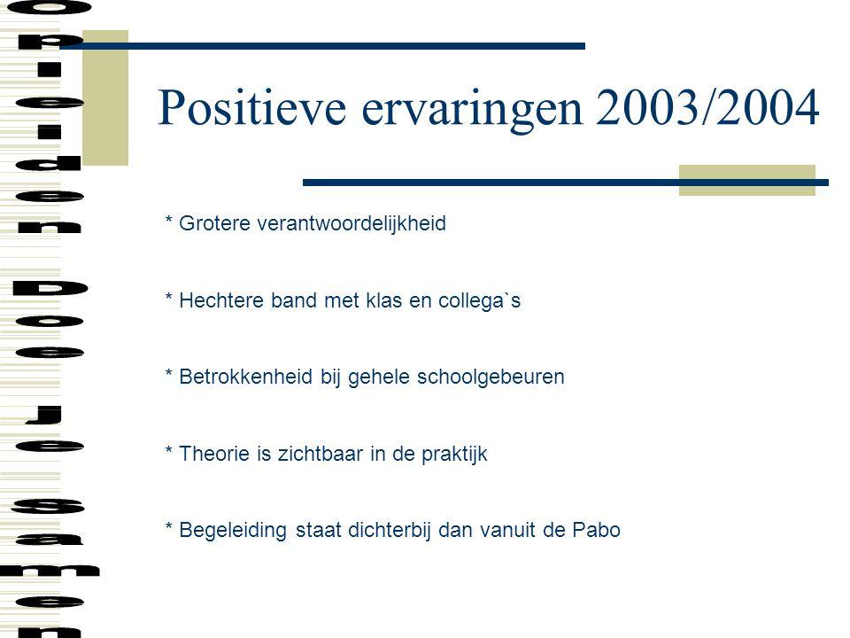 Positieve ervaringen 2003/2004