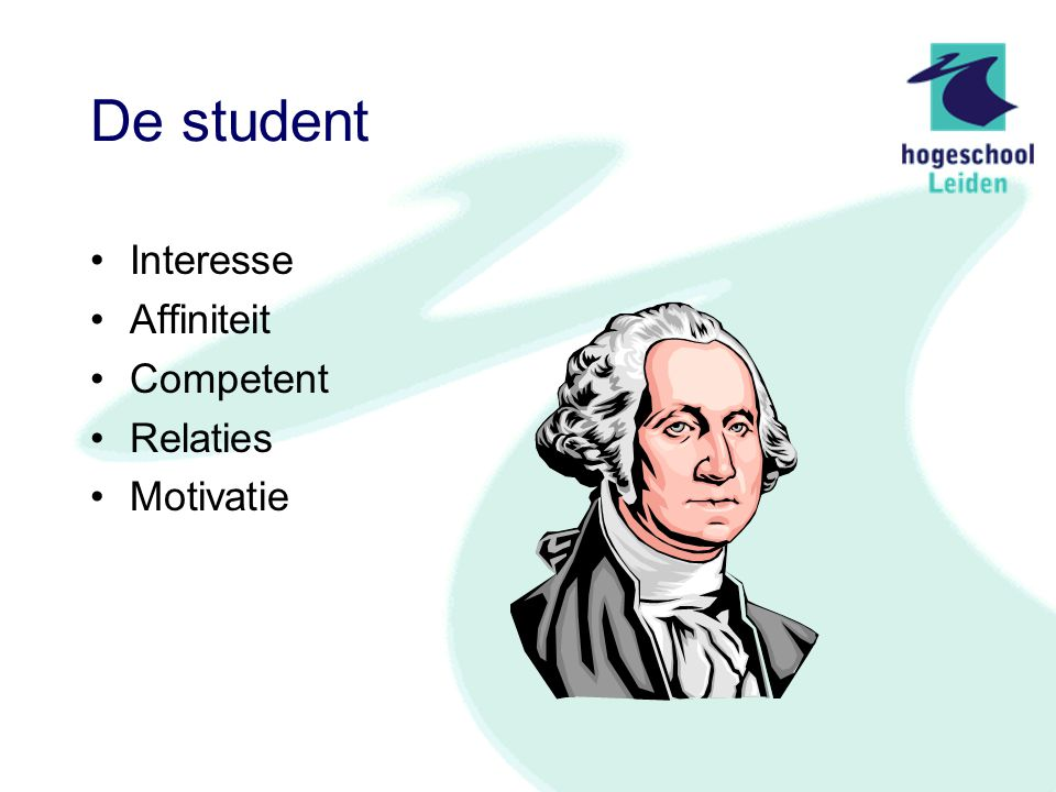 De student Interesse Affiniteit Competent Relaties Motivatie