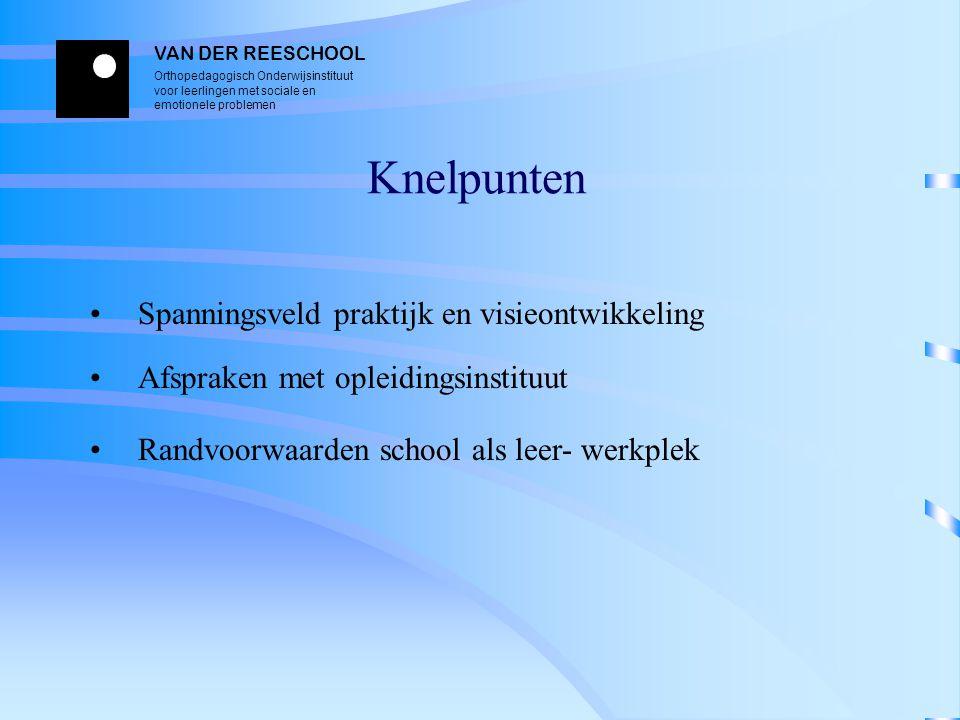 Knelpunten Spanningsveld praktijk en visieontwikkeling