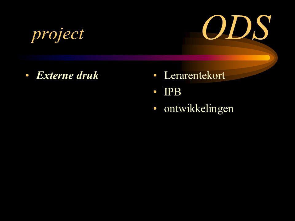 project ODS Externe druk Lerarentekort IPB ontwikkelingen