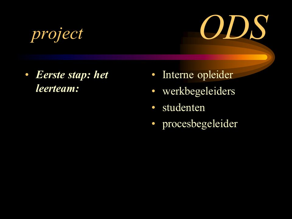 project ODS Eerste stap: het leerteam: Interne opleider