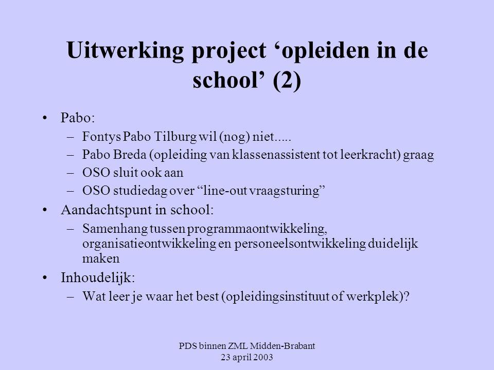 Uitwerking project 'opleiden in de school' (2)