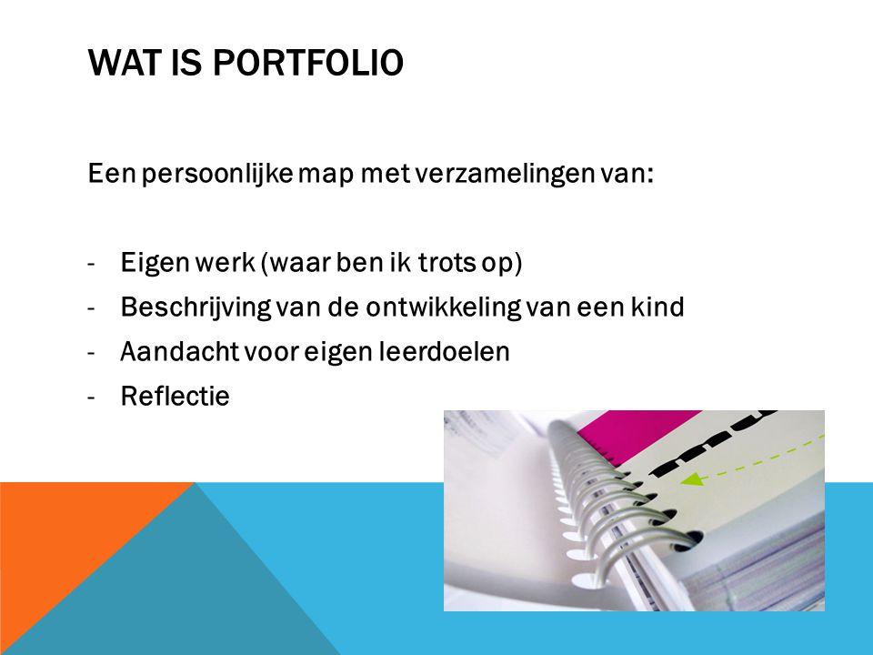 Wat is portfolio Een persoonlijke map met verzamelingen van: