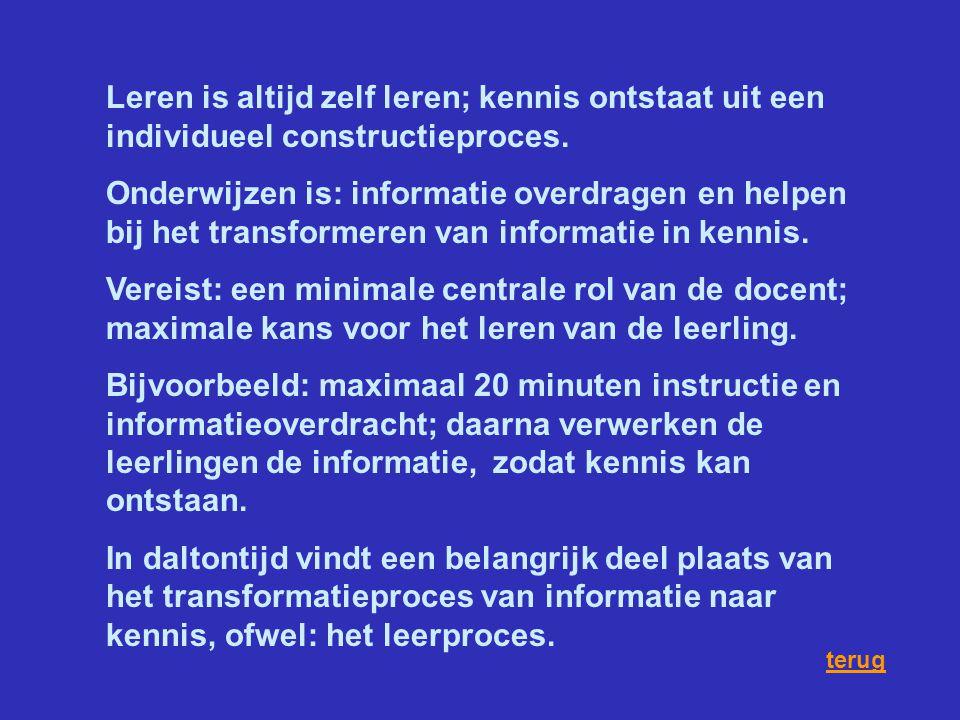 Leren is altijd zelf leren; kennis ontstaat uit een individueel constructieproces.