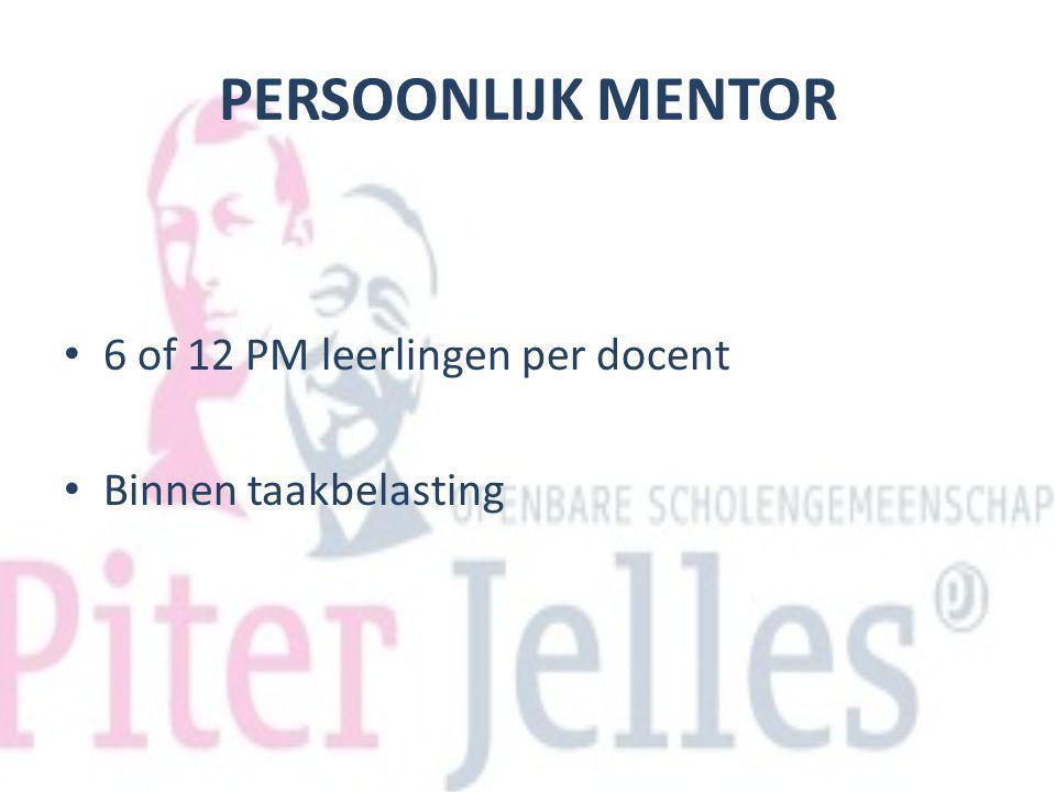 PERSOONLIJK MENTOR 6 of 12 PM leerlingen per docent