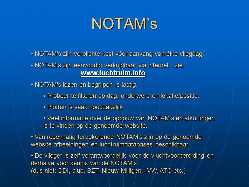 NOTAM's NOTAM's zijn verplichte kost vóór aanvang van élke vliegdag!