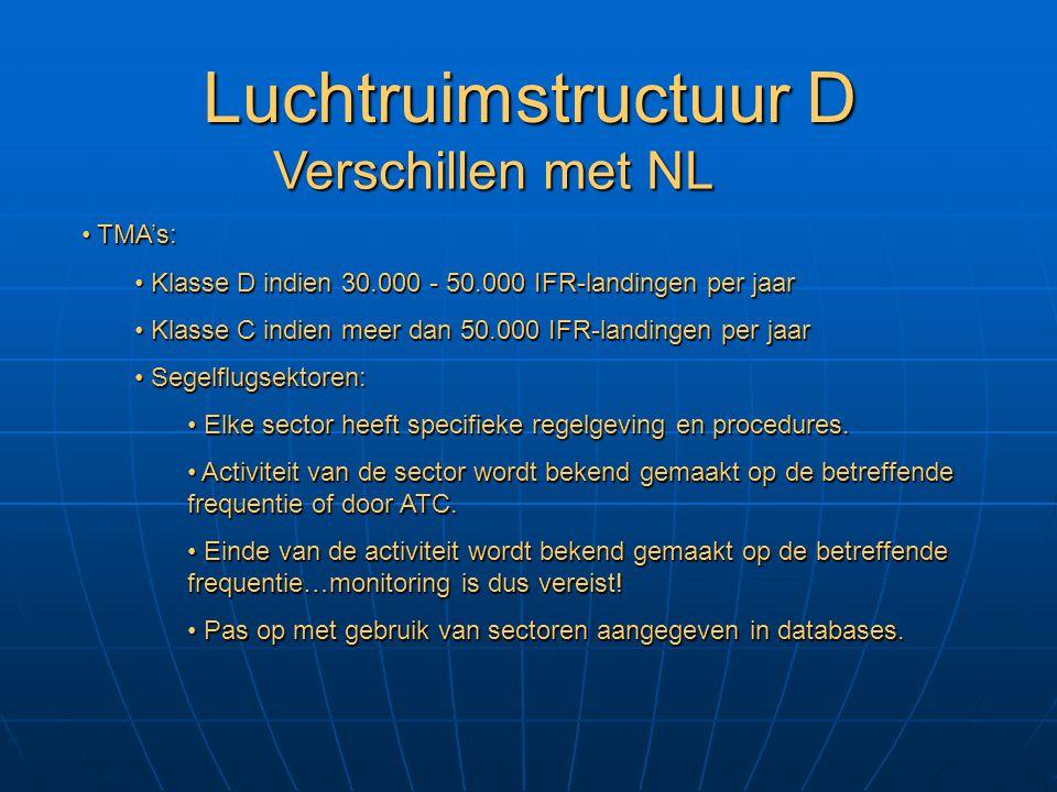 Luchtruimstructuur D Verschillen met NL TMA's: