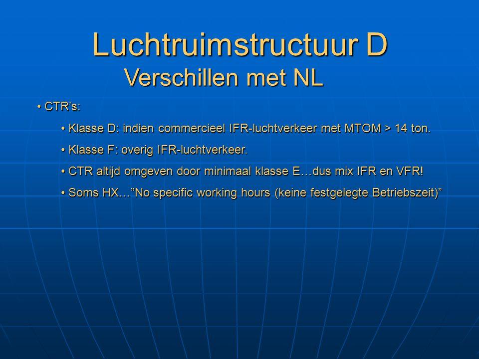 Luchtruimstructuur D Verschillen met NL CTR's: