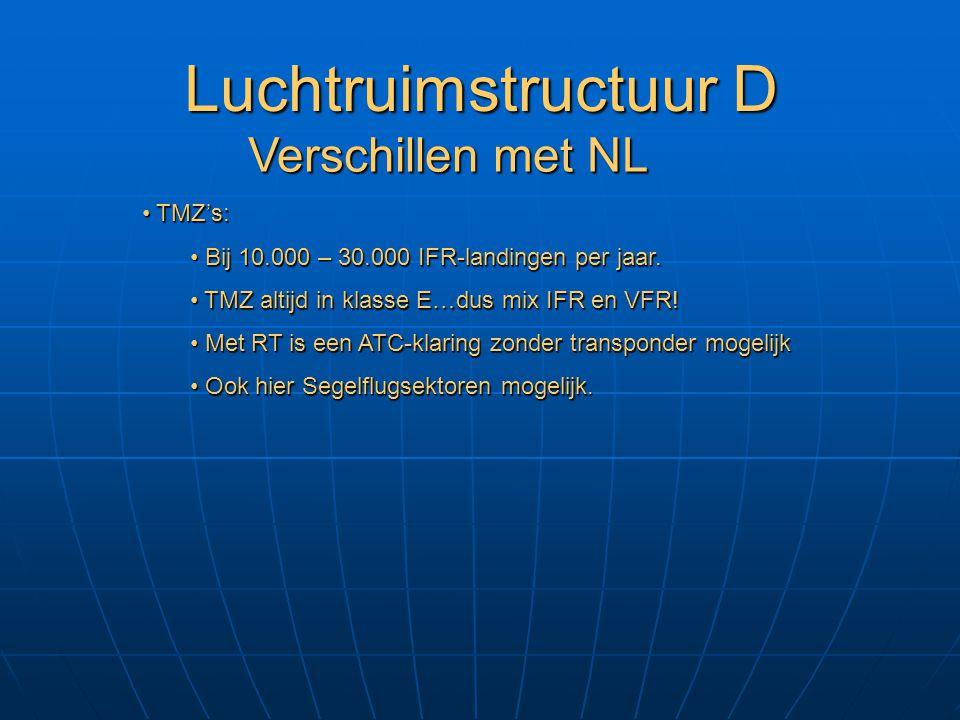 Luchtruimstructuur D Verschillen met NL TMZ's: