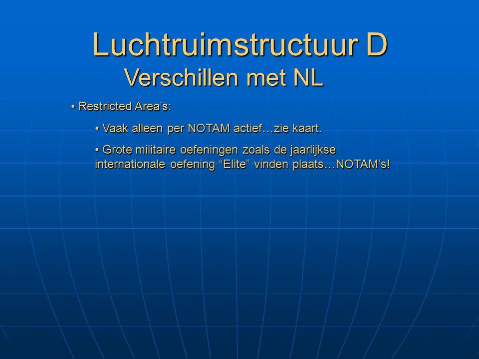 Luchtruimstructuur D Verschillen met NL Restricted Area's: