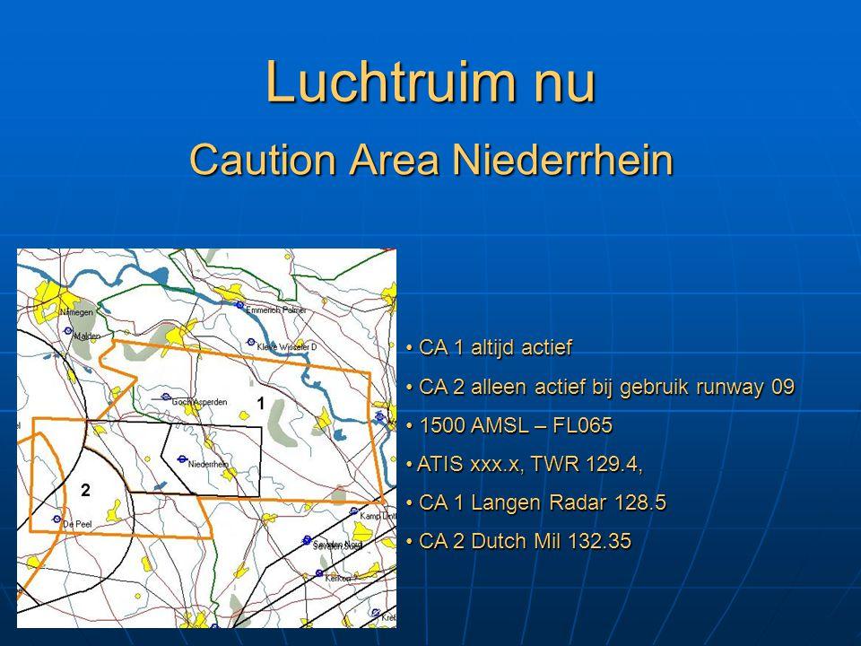 Luchtruim nu Caution Area Niederrhein CA 1 altijd actief