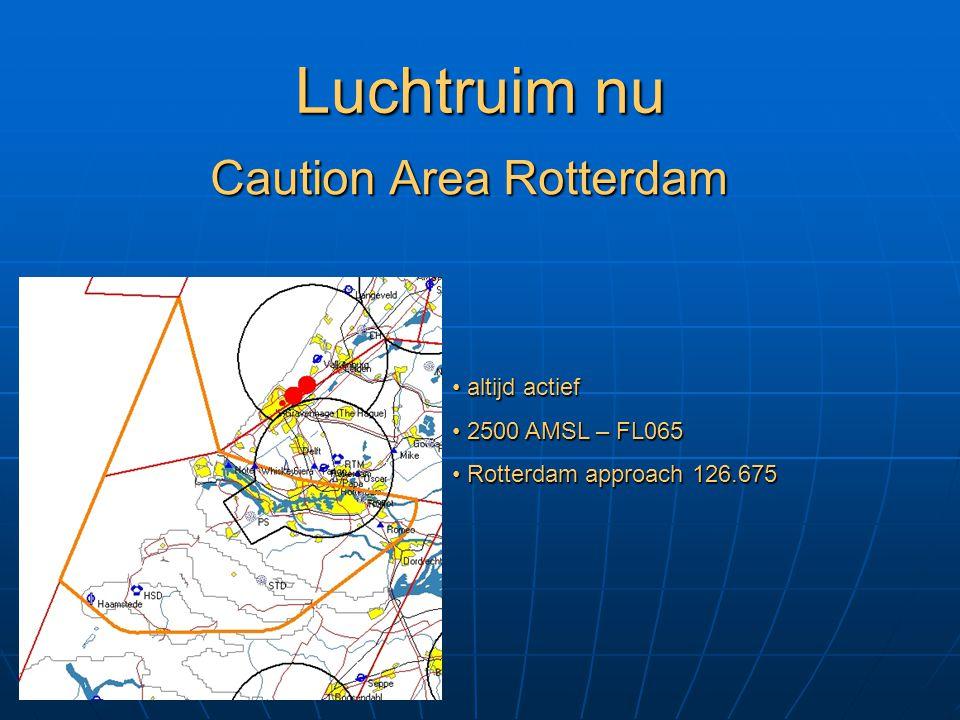 Luchtruim nu Caution Area Rotterdam altijd actief 2500 AMSL – FL065