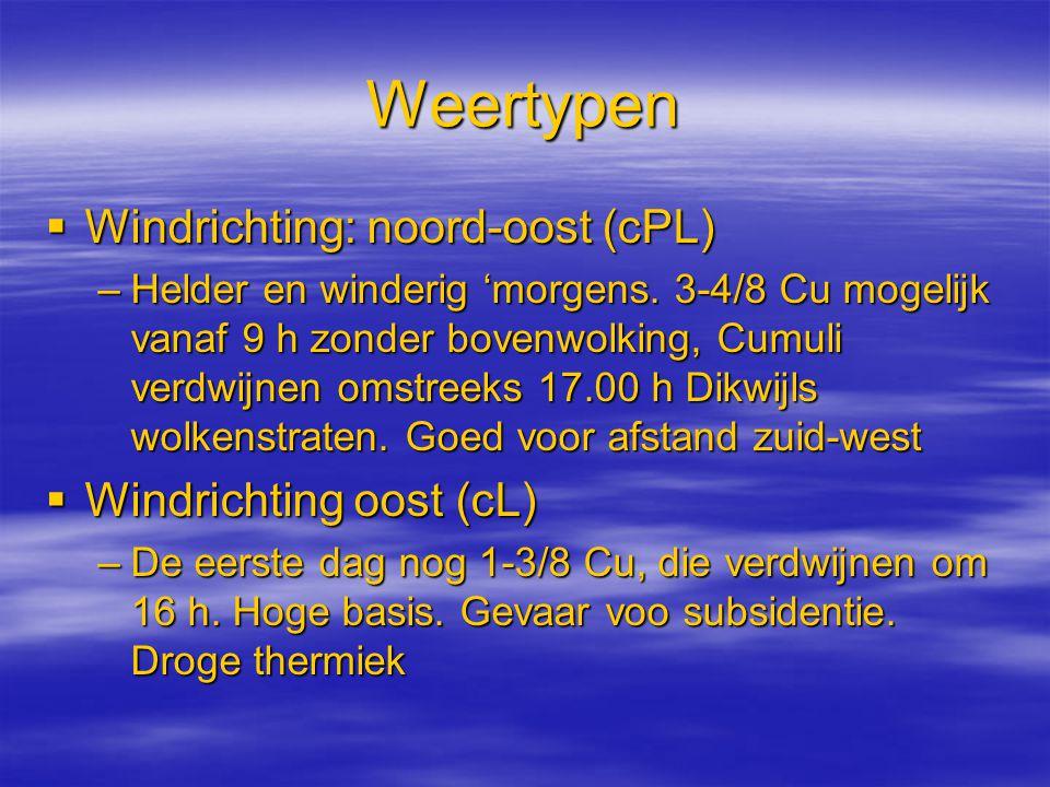 Weertypen Windrichting: noord-oost (cPL) Windrichting oost (cL)