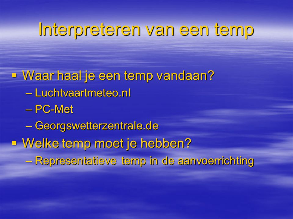 Interpreteren van een temp