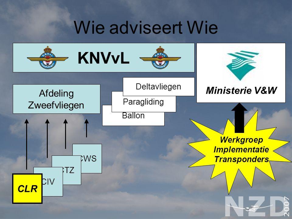 Wie adviseert Wie KNVvL Ministerie V&W Afdeling Zweefvliegen CLR
