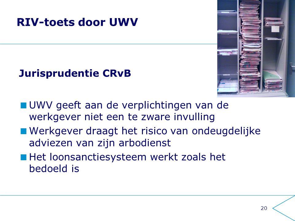 RIV-toets door UWV Jurisprudentie CRvB