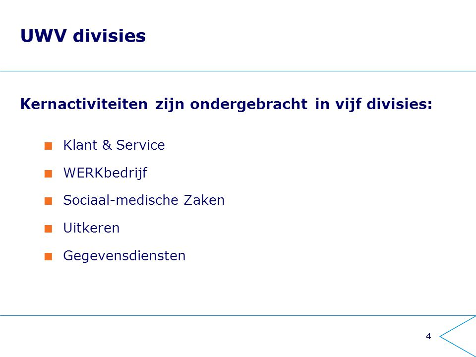 UWV divisies Kernactiviteiten zijn ondergebracht in vijf divisies: