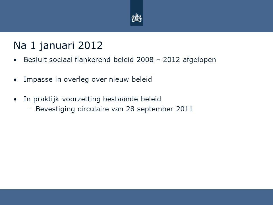 Na 1 januari 2012 Besluit sociaal flankerend beleid 2008 – 2012 afgelopen. Impasse in overleg over nieuw beleid.
