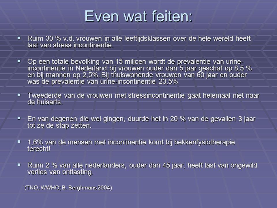 Even wat feiten: Ruim 30 % v.d. vrouwen in alle leeftijdsklassen over de hele wereld heeft last van stress incontinentie.