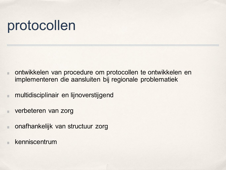 protocollen ontwikkelen van procedure om protocollen te ontwikkelen en implementeren die aansluiten bij regionale problematiek.