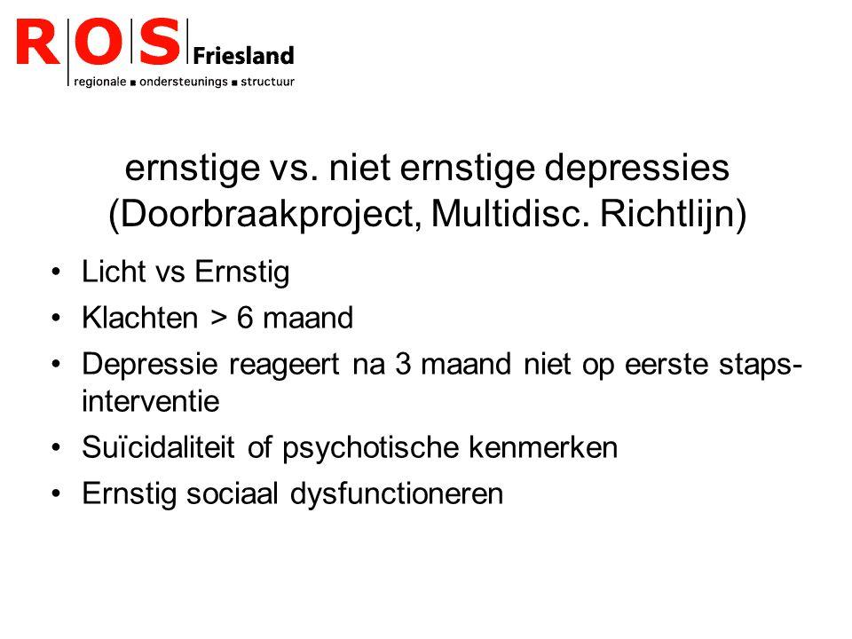 ernstige vs. niet ernstige depressies (Doorbraakproject, Multidisc