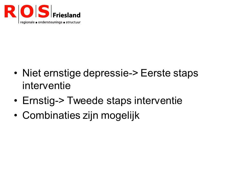 Niet ernstige depressie-> Eerste staps interventie