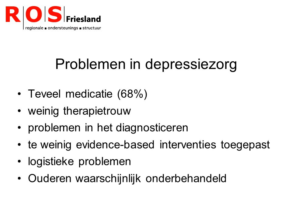 Problemen in depressiezorg