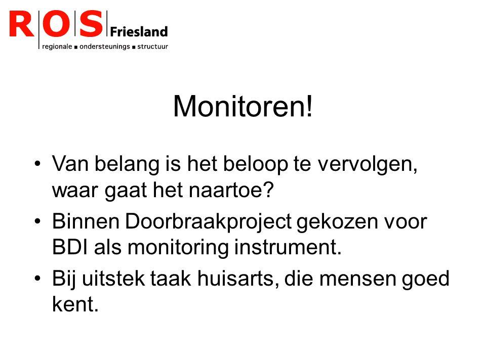 Monitoren! Van belang is het beloop te vervolgen, waar gaat het naartoe Binnen Doorbraakproject gekozen voor BDI als monitoring instrument.