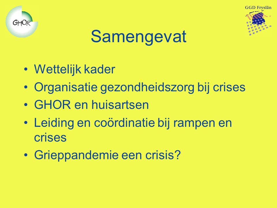 Samengevat Wettelijk kader Organisatie gezondheidszorg bij crises
