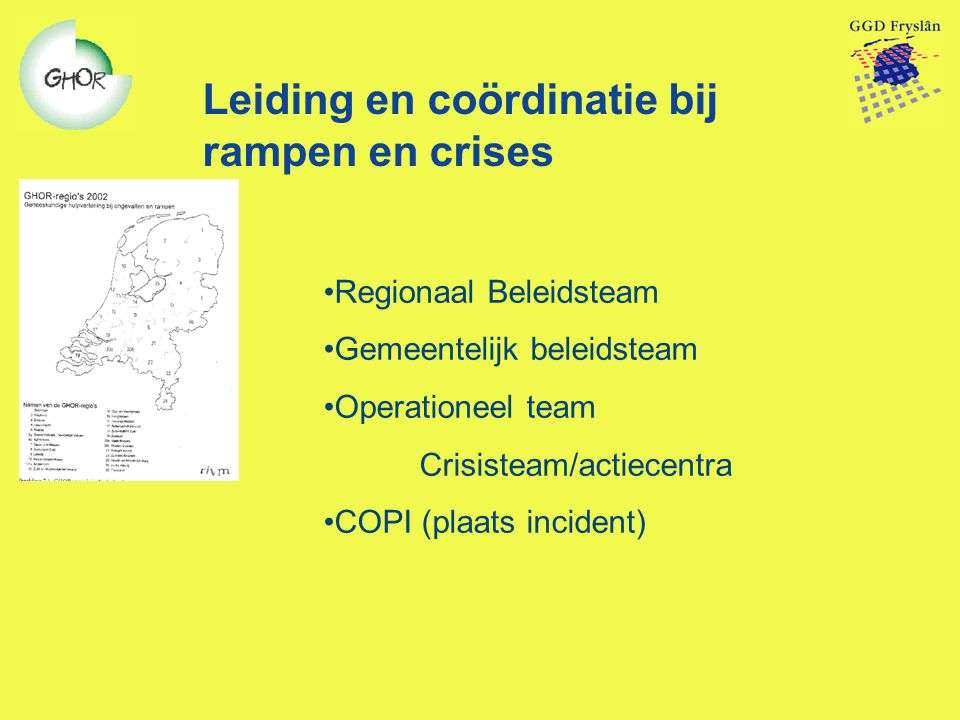 Leiding en coördinatie bij rampen en crises