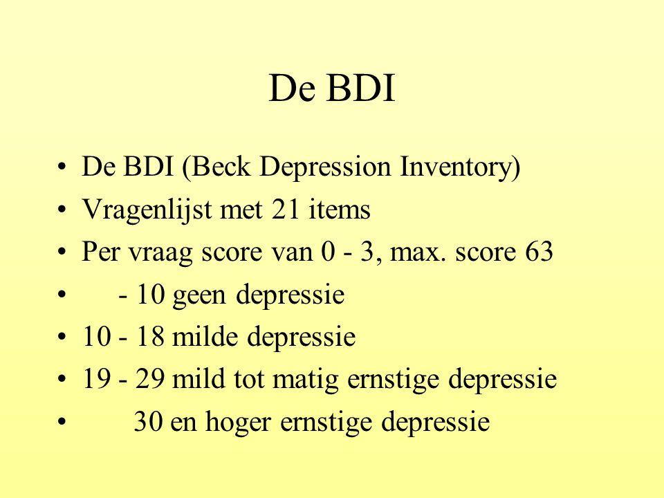 De BDI De BDI (Beck Depression Inventory) Vragenlijst met 21 items
