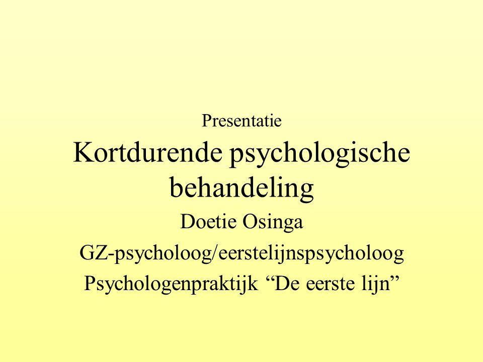 Presentatie Kortdurende psychologische behandeling