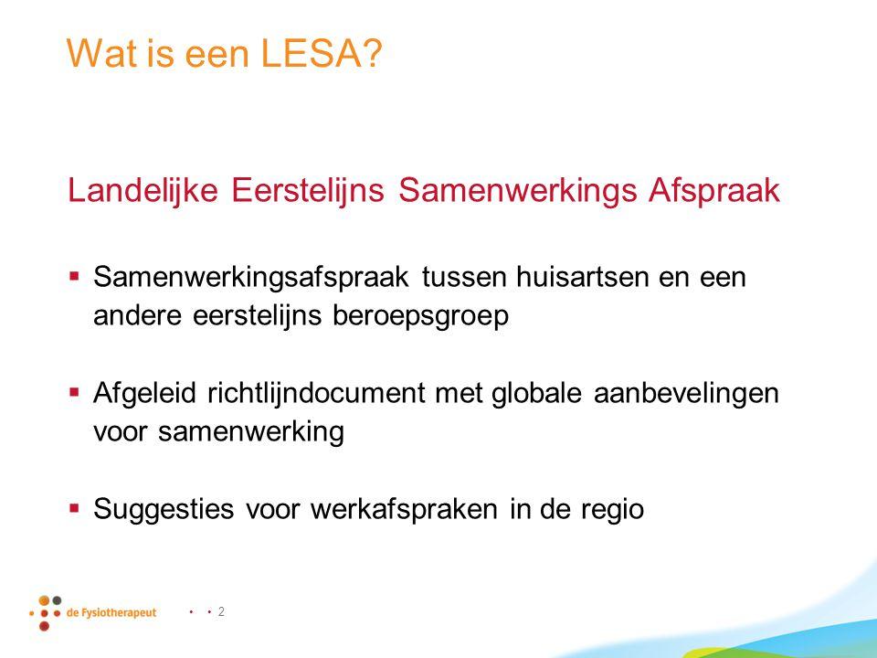 Wat is een LESA Landelijke Eerstelijns Samenwerkings Afspraak
