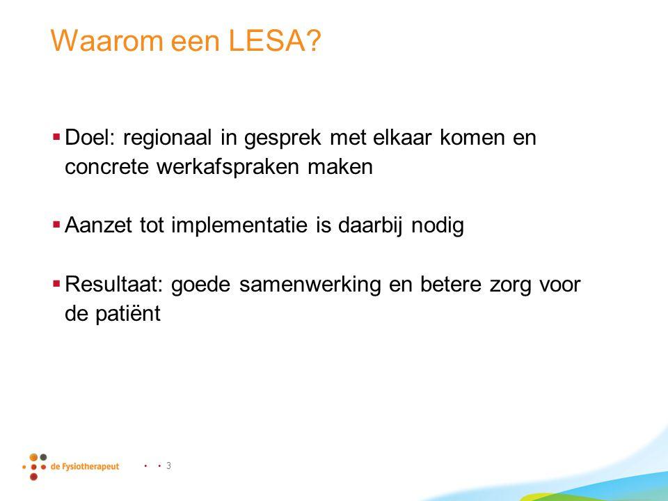 Waarom een LESA Doel: regionaal in gesprek met elkaar komen en concrete werkafspraken maken. Aanzet tot implementatie is daarbij nodig.