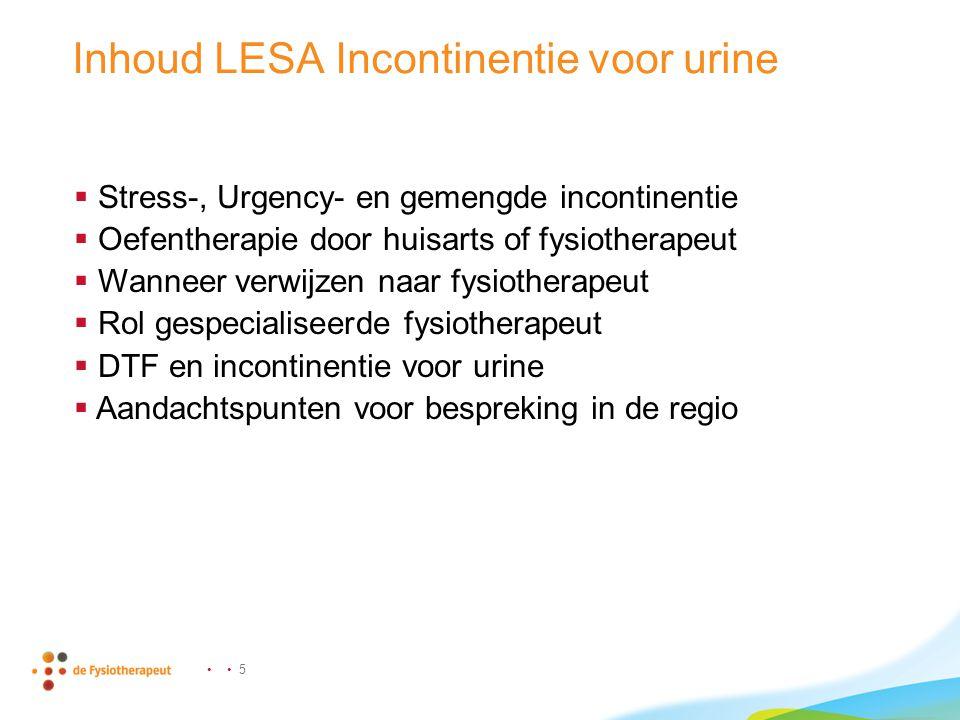 Inhoud LESA Incontinentie voor urine