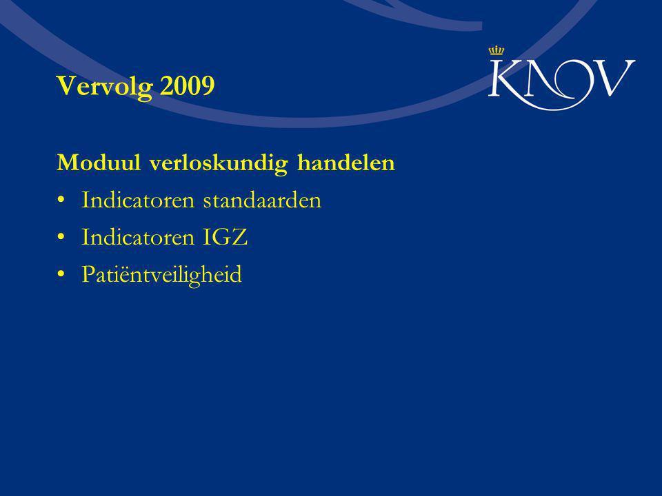 Vervolg 2009 Moduul verloskundig handelen Indicatoren standaarden